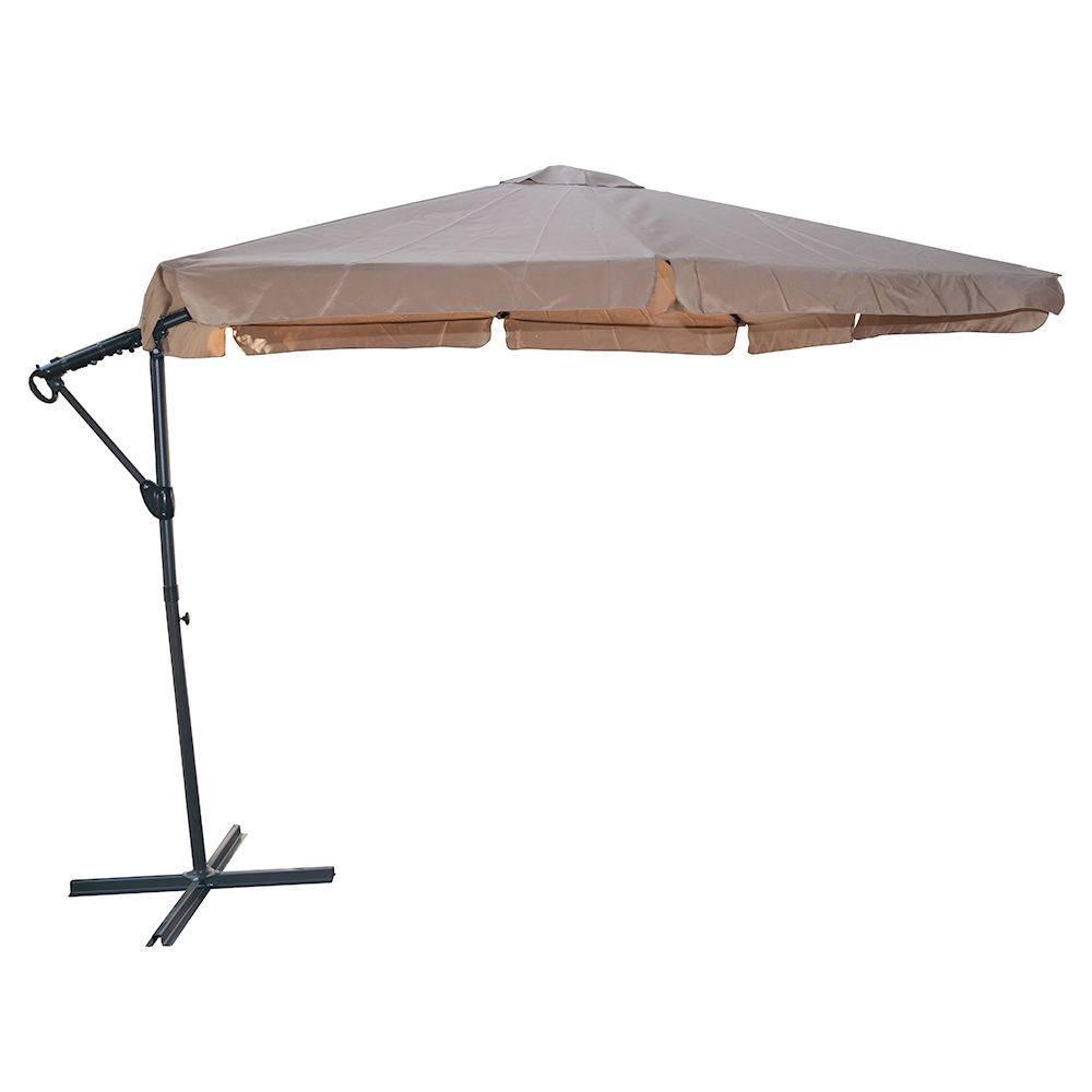 Jardin parasol pied côté gris taupe 2,5 mètres
