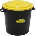 Poubelle couvercle jaune 50 litres Leiriplás®