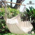 Chaise Suspendue avec Coussin Craftenwood Couleur Beige